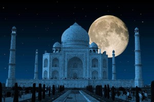 Taj Mahal and the moon